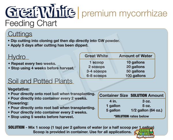 Great White Feed Chart